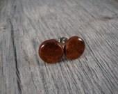 Wooden Stud Earrings - Amboyna Burl Wood Round Stud Earrings