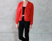 red cardigan, 60's vintage minimal red button front knitted cardigan,boucle knit, sweater, jumper, grunge, womens medium