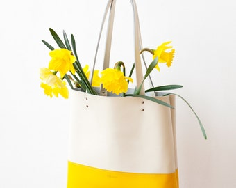 SPRING SALE Buttercup Yellow And Ivory Leather Tote bag No. TLH-103