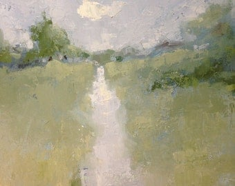 Original oil painting // textured palette knife painting // Pastoral Path // 18 x 24 inches