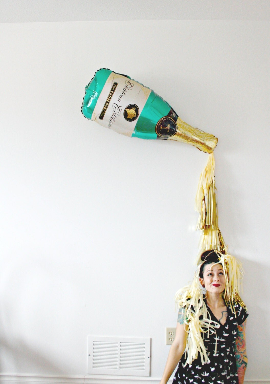 New Years Eve Champagne Bottle Tassel Balloon by pomtree ...