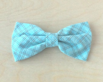 Clip on bow tie, for men, boys or toddlers - Teal Chocolate Plaid