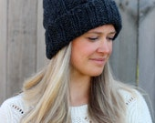 Cozy Woman's Cable Knitted Beanie in Golden Dark Charcaol Gray- Woman's Hat