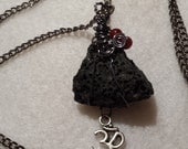 Handcrafted Wire Wrapped Genuine Icelandic Raw Lava Stone with Carnelian Pendant Necklace, Healing Crystals, Reiki, Chakra, Yoga Jewelery,Om