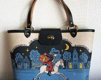 Rare Tandy Designer 1976 Printed Bicentennial Paul Revere Enid Collins Handbag Purse