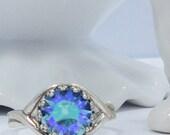 Vintage Sapphire  crystal adjustable  Ring silver plated filigree vintage bridal bridesmaids long estate elegant old hollywood