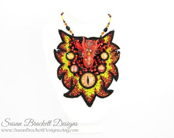 Beaded Dragon Bib Necklace, Statement Piece, Fine Jewelry, Bead Embroidery, Runway Fashion, Game of Thrones, Harry Potter, Fire Dragons