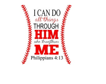 Baseball I Can Do All Things Philippians 4:13 SVG, JPG, or Silhouette Instant Download