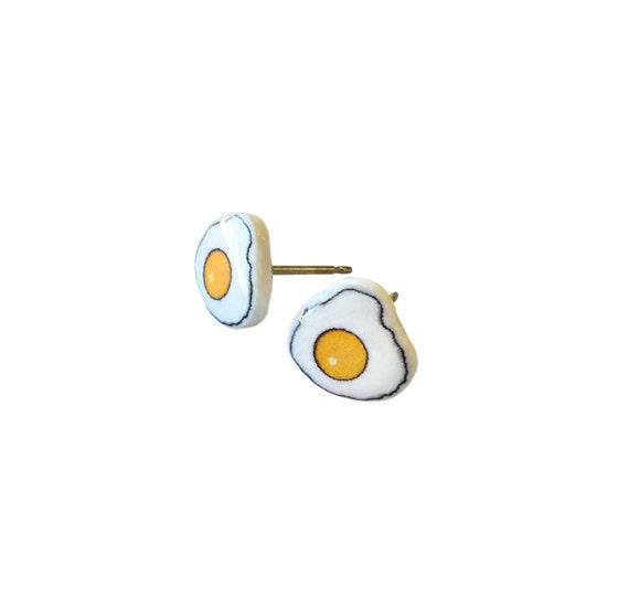 Egg Earrings / Egg Jewelry / Breakfast Studs