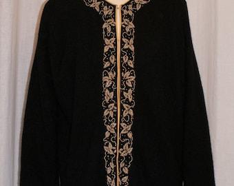 Vintage 1960s gold beaded black wool cardigan M L rockabilly
