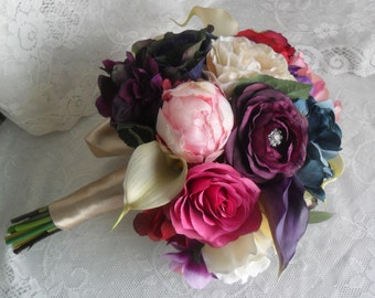 Wedding Bouquet, Plum Purple Bridal Bouquet,Silk Wedding Flowers,Vintage Wedding,Jewel Tone Bridal Bouquet,Calla Lily/Rose/Hydrangea Bouquet