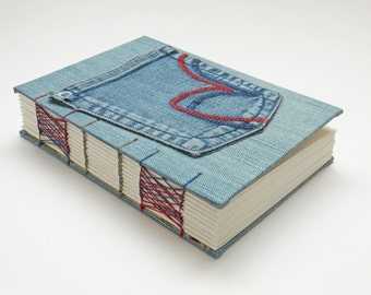 Jeans Journal, Hand Sewn Notebook, Denim notebook, Reclaimed Journal, Travel Journal, Traveler's Notebook, Keepsake Notebook, Sketchbook