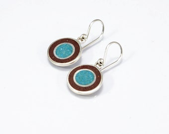 Sterling Silver Earrings, Chocolate and Turquoise, Circles,  Fun, Modern, Contemporary
