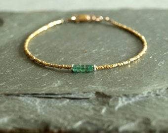 Small Gold Emerald Bracelet, gemstone bracelet, untreated natural Zambian emeralds, 14K goldfilled, gold vermeil beads, real emerald jewelry