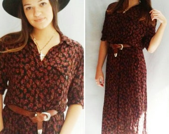 Ditsy Floral Dress Tea Dress SHIRT dress Midi Brown Black Floral vintage 70s 80s collared button up dress with red flowers
