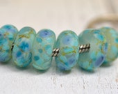 larimar look a likes..with tons of silver...big hole beads...dread beads....Euro style glass SINGLE lampwork charm, SRA handmade P82015-6