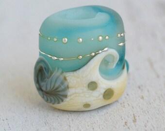 beach bead large hole tube sea glass lampwork bead, SRA handmade, matte finish in aqua, silver drops and ivory for charm bracelet  P81316-10