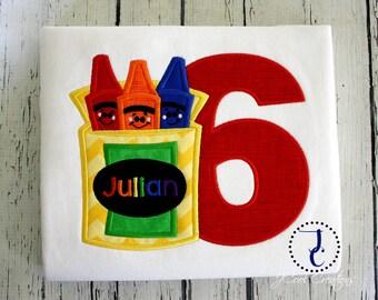 Crayon Birthday Shirt, Crayon Party, Crayola Birthday Party, Art Birthday Shirt, Monogram Shirt, Crayon Shirt, Art Party, School Supplies