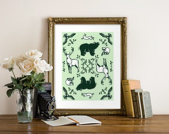 Forest Animals Giclee Print - Woodcut Style - Wildlife Art, Woodland Animals, Forest Art, Green Print