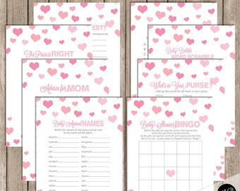 Valentines Baby Shower Game Pack - Hearts Shower Games Pink Confetti Hearts, bingo, a to z baby, what's in your purse and more -  INSTANT
