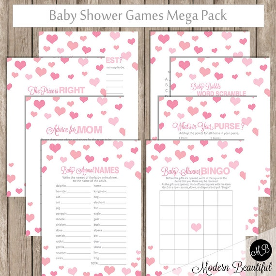 Valentines Baby Shower Game Pack Hearts Shower Games Pink Confetti