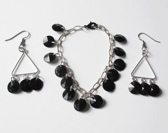 Black and Silver Earring and Bracelet Set Silver Tone with Black Charm Bracelet and Earrings