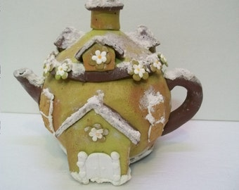 Craft Supplies, Teapot House for Fairy Garden or Holiday Art, Fantasy Decor, Decorative Teapot For Crafts or Art Projects,