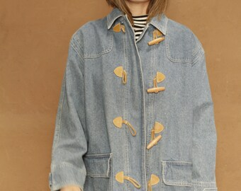 90s vintage denim faded blue OXFORD corduroy contrast collar PACIFIC NORTHWEST style jacket coat