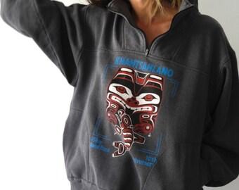 DEEP grey & blue ALASKA native american BEAR animal sweatshirt