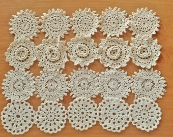 20 Small Craft Doilies, Beige Crochet Doilies, 2 1/2 inch Lace Doilies, Small Pieces for Crafts and Dream Catchers