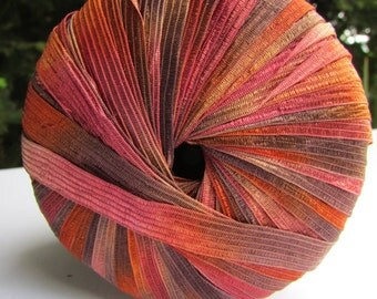 2 skeins of Ribbon Yarn Incredible by Lion Brand in Autumn Leaves