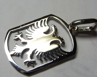 albanian eagle, with a chain25mm'' size . o1'' sterling silver. Rhodium  plated. eag12
