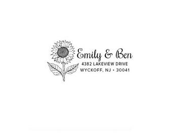 Housewarming Anniversary Wedding Gift Flower - Nature - Personalized Custom Return Address Rubber Stamp or Self Inking - Sunflower Garden