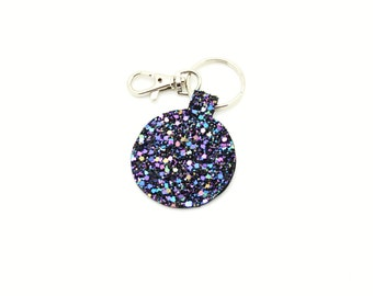 Purple Glitter Fabric Round Circle Key Ring Key Chain Clutch Hand Bag Charm Accessory Accessories Birthday Gift Idea