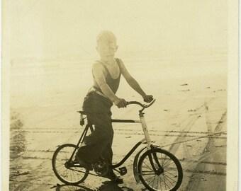 "Vintage Photo ""Bobby's Beach Bike Patrol"" Children Bicycle Snapshot Old Photo Black & White Photograph Found Paper Ephemera Vernacular - 113"