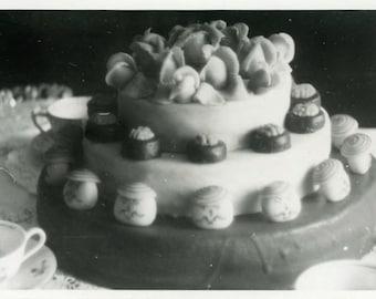 "Vintage Photo ""Cake Delight"" Food Kitchen Decor Snapshot Photo Old Antique Black & White Photograph Found Paper Ephemera Vernacular - 100"