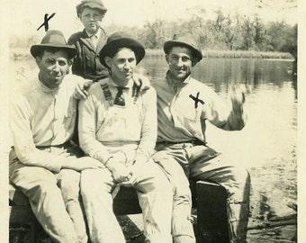 "Vintage Photo ""The X Men"" Group of Guys Lake Snapshot Photo Old Antique Photo Black & White Photograph Found Paper Ephemera Vernacular - 35"