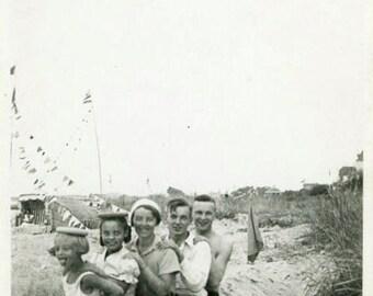 "Vintage Photo ""Beach Train"" Bathing Suit Swimsuit Snapshot Old Antique Photo Black & White Photograph Found Paper Ephemera Vernacular - 54"