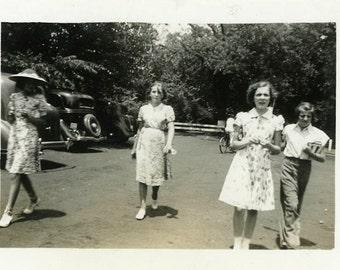 "Vintage Photo ""Island Park Walkers"" Girls Walking Snapshot Photo Old Photo Black & White Photograph Found Paper Ephemera Vernacular - 119"