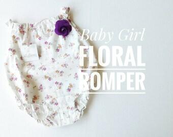 Little Girl Romper bodysuit, Flowered baby Bodysuit, White Romper for newborn babies