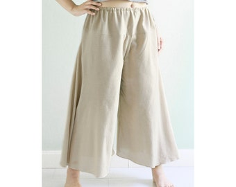 SALE, Loose Fit Cotton Comfy Pants for Summer, Pregnancy Maternity Pants with Drawstring Waist and Wide Leg in Beige or light Brown