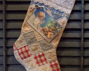 Sweet Primitive Handmade Antique Cutter Quilt Stocking - Winter/Holiday