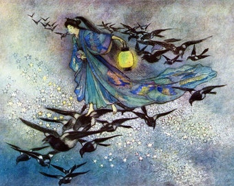Goddess Print - Magpies Fly - Star Lovers - Warwick Goble
