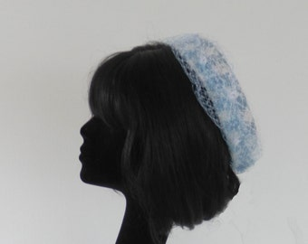 Dutch design bouclé ginham pillbox hat in Jackie O style ; off white and soft blue with ton sur ton netting on comb