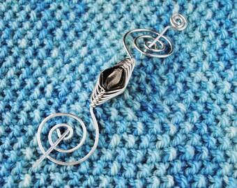 Grey and Silver Shawl Pin