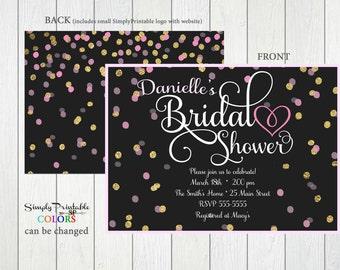 Bridal Shower Invitation, Gold Black Pink Bridal Shower Invite, Modern Bridal Shower Invitation,