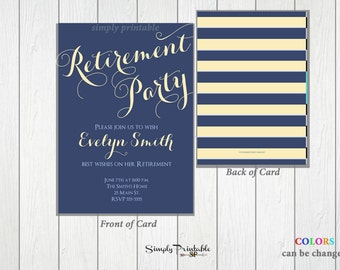 Retirement Party Invitation, Blue Retirment Invite, Printable Invitation, Printed Invite