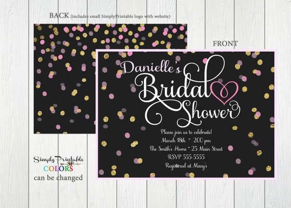 Bridal Shower Invitation, Gold Black Pink Bridal Shower Invite, Modern Bridal Shower Invitation,