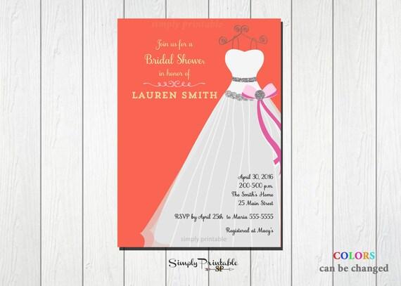 Bridal Shower Invitation, Pink Orange, Yellow Invite, Wedding , Tropical Wedding Shower, Hawaiian