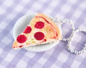 Pizza necklace - Miniature food jewelry - Food charm